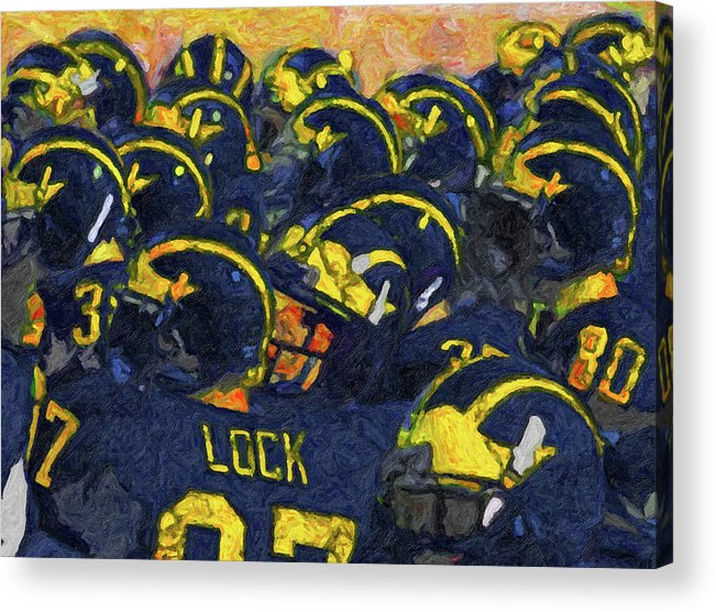 University Of Michigan Acrylic Print featuring the painting Winged Warriors by John Farr