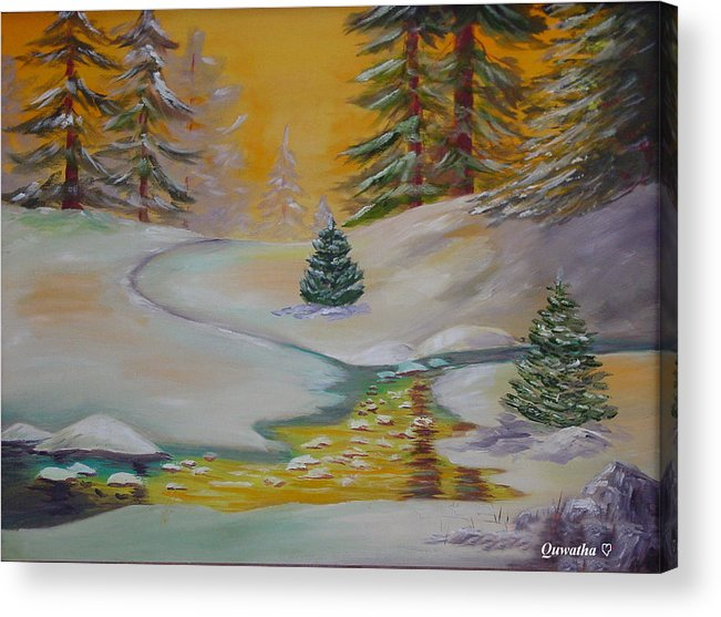 Winter Acrylic Print featuring the painting Winter by Quwatha Valentine