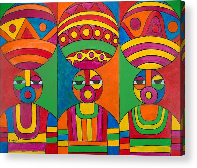 Abstract Acrylic Print featuring the painting Women With Calabashes by Emeka Okoro