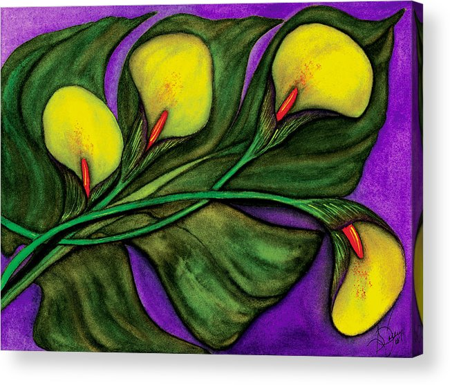 Calalilies Acrylic Print featuring the painting Yellow Calalilies by Stephanie Jolley