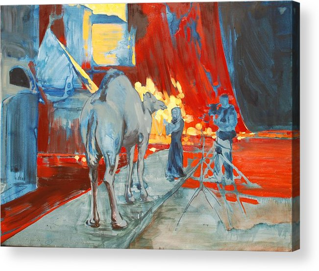Animals Woman Set Hollywood Camel Blue Behind Scenes Yellow Bright Film Filming Acrylic Print featuring the painting Zohan Camel by Amy Bernays