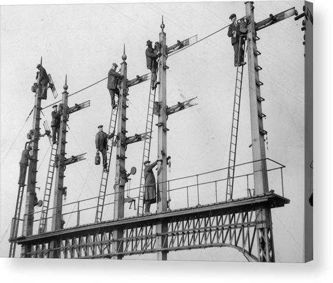 Rail Transportation Acrylic Print featuring the photograph Signal Repairs by Fox Photos