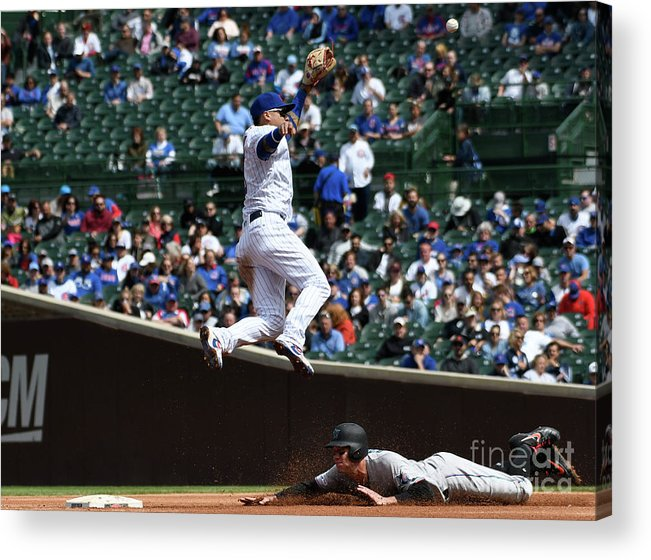People Acrylic Print featuring the photograph Miami Marlins V Chicago Cubs by David Banks