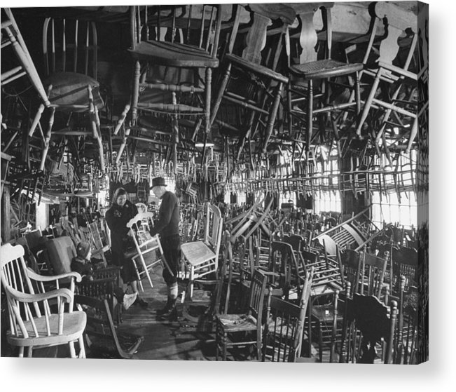 Timeincown Acrylic Print featuring the photograph Large Room Full Of Chairs Being Offered by Walter Sanders