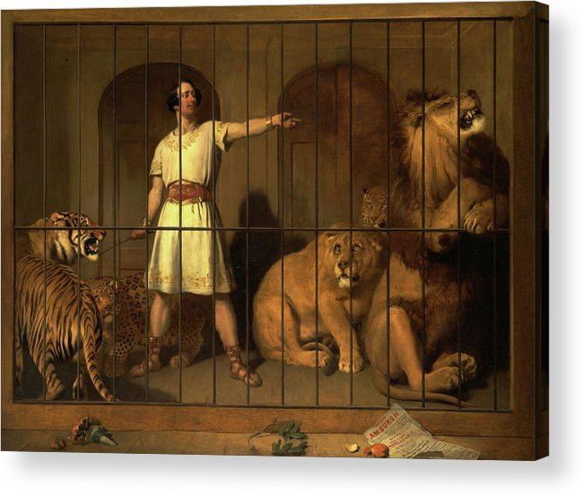 Sir Edwin Henry Landseer Acrylic Print featuring the painting Portrait Of Mr. Van Amburgh, As He Appeared With His Animals At The London Theatres, 1847 by Sir Edwin Landseer