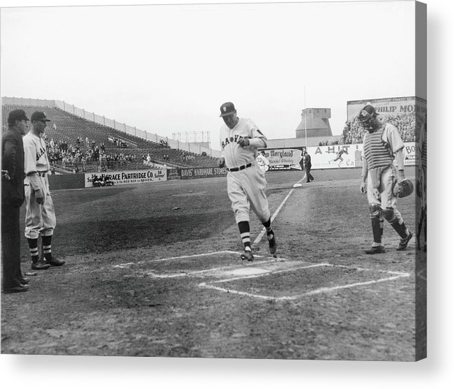 Baseball Cap Acrylic Print featuring the photograph The Babe Scores by Fpg