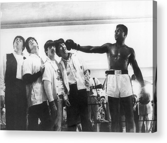 Sports Training Acrylic Print featuring the photograph The Beatles And Muhammad Ali In 1964 by Keystone-france