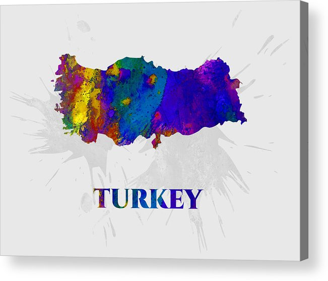 Turkey Acrylic Print featuring the mixed media Turkey, Map, Artist Singh by Artist Singh MAPS