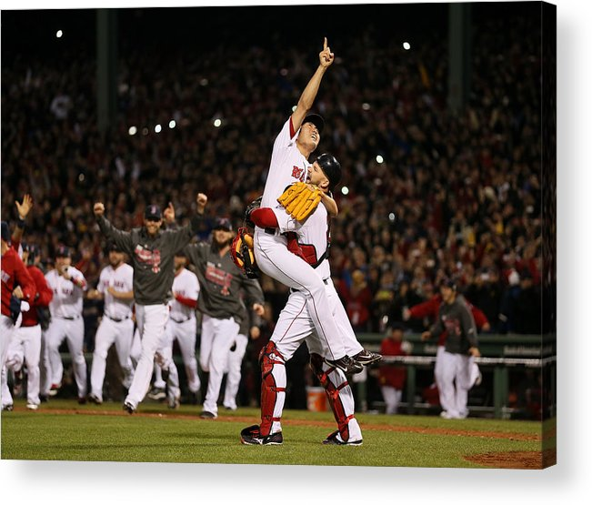 Playoffs Acrylic Print featuring the photograph David Ross And Koji Uehara by Rob Carr