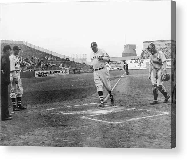 Baseball Cap Acrylic Print featuring the photograph Babe Ruth by Fpg