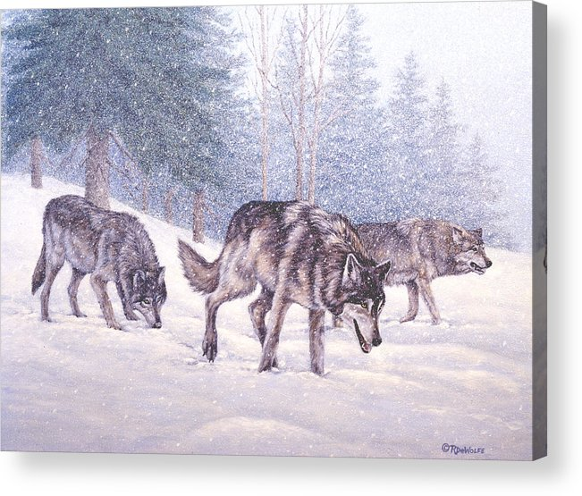 Winter Acrylic Print featuring the painting Following The Scent by Richard De Wolfe