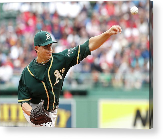 American League Baseball Acrylic Print featuring the photograph Tommy Milone by Jim Rogash