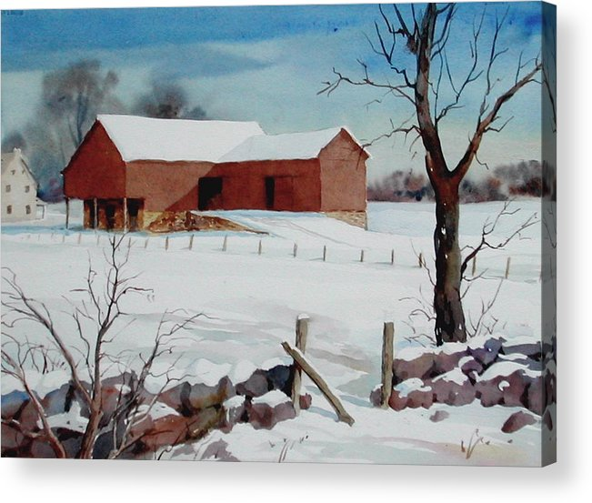 Landscape Acrylic Print featuring the painting Bankbarn In The Snow by Faye Ziegler