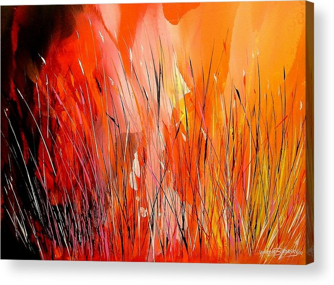 Abstract Acrylic Print featuring the painting Blaze by Yvette Sikorsky