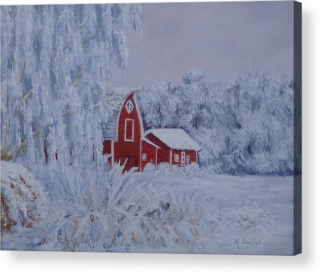 Landscape Acrylic Print featuring the painting Brr by Maxine Ouellet