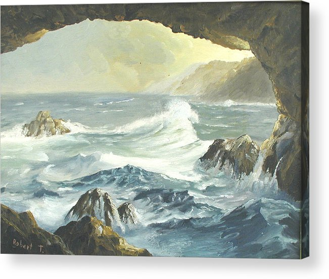 Coast Acrylic Print featuring the painting Costal Cave by Robert Thomaston