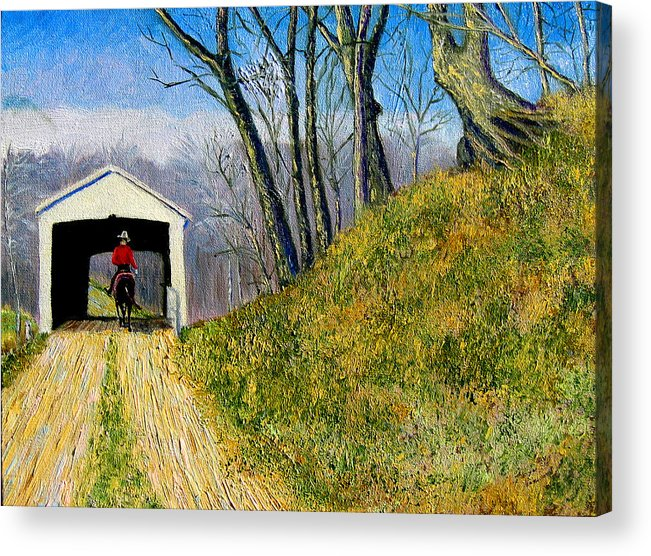 Cowboy Acrylic Print featuring the painting Covered Bridge And Cowboy by Stan Hamilton