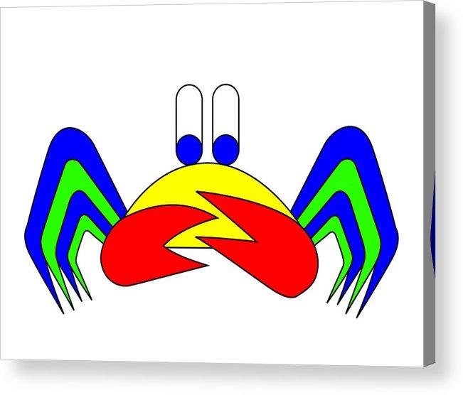 Crab-mac-claw Acrylic Print featuring the digital art Crab-mac-claw The Crab by Asbjorn Lonvig