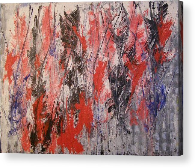 Abstract Acrylic Print featuring the painting Feathers by Don Phillips