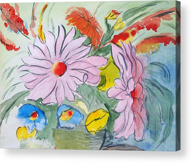 Floral Acrylic Print featuring the painting Fun Flowers by Robert Thomaston