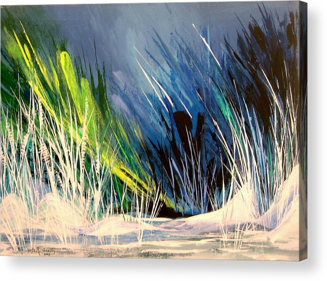 Abstract Acrylic Print featuring the painting Icy Pond by Yvette Sikorsky