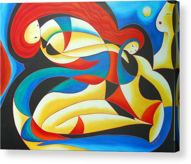 Abstract Expressionism Acrylic Print featuring the painting Motherhood by Marta Giraldo
