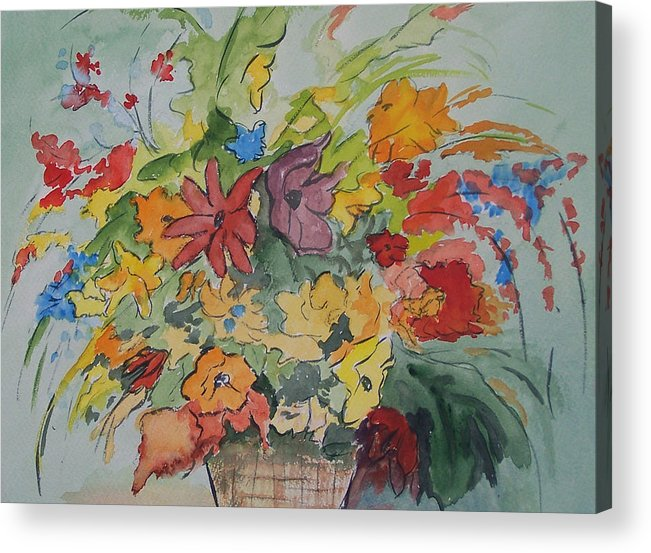 Watercolor Acrylic Print featuring the painting Pams Flowers by Robert Thomaston
