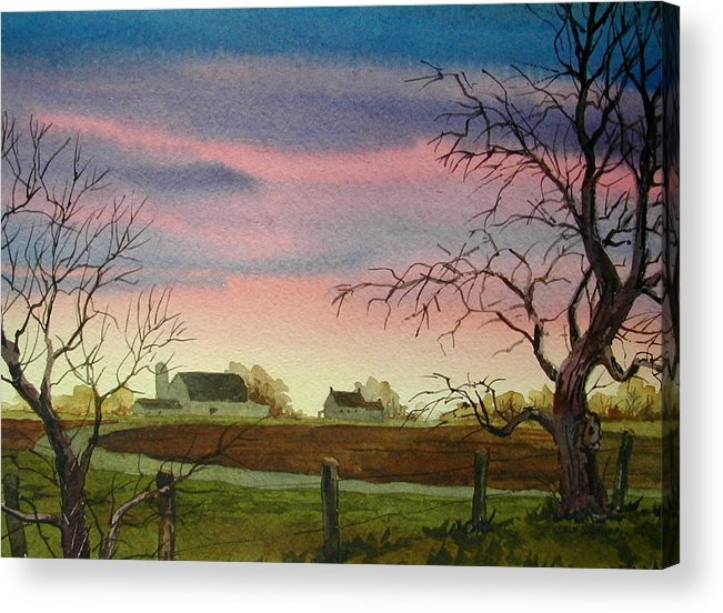 Amish Farm Acrylic Print featuring the painting Peaceful Evening by Faye Ziegler