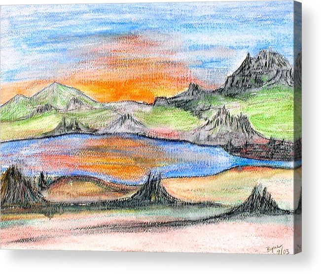 Acrylic Print featuring the painting Sunset by Margie Byrne