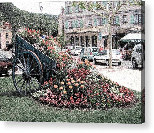 Sisteron Acrylic Print featuring the digital art Flower Cart In Sisteron France by David Blank