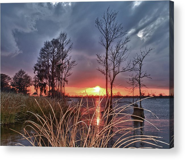 Scenic River Sunset Acrylic Print featuring the photograph Grassy View Sunset by Mike Covington