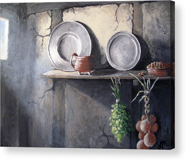 Still Life Acrylic Print featuring the painting 1642 by Sharon Marcella Marston