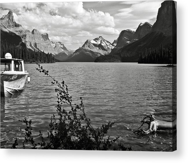 B&w Acrylic Print featuring the photograph Maligne Lake by RicardMN Photography