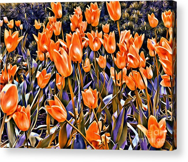 Tulips Acrylic Print featuring the photograph 9344 by Charles Cunningham