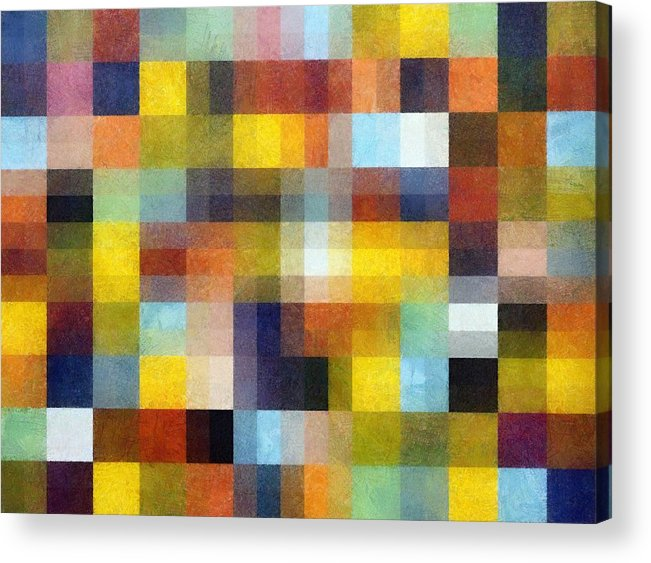 Pixels Acrylic Print featuring the painting Abstract Boxes With Layers by Michelle Calkins