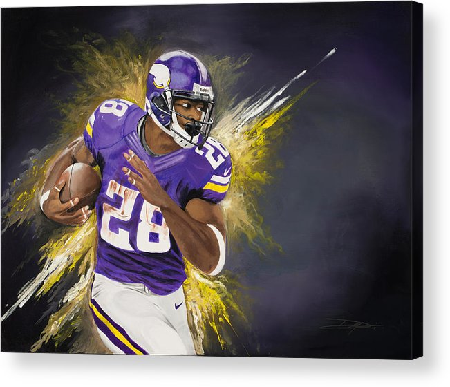 Ap Acrylic Print featuring the painting Adrian Peterson by Don Medina