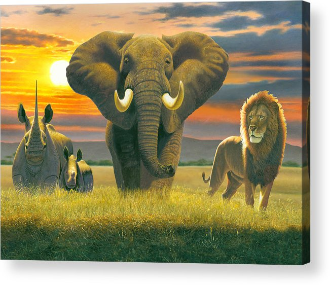 Animal Acrylic Print featuring the photograph Africa Triptych Variant by Chris Heitt