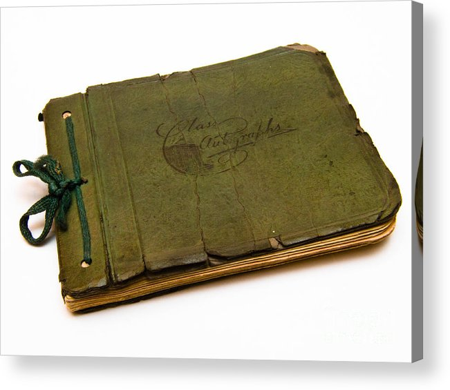 Aged Acrylic Print featuring the photograph Antique Autograph Book by Amy Cicconi