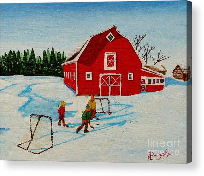 Hockey Acrylic Print featuring the painting Barn Yard Hockey by Anthony Dunphy