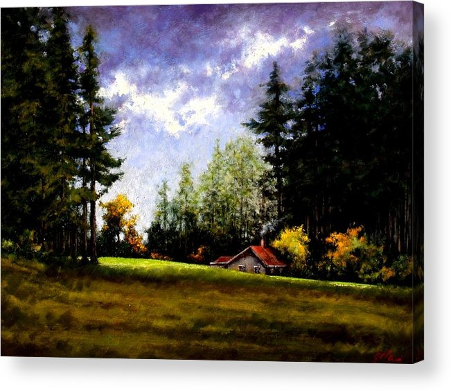 Landscape Acrylic Print featuring the painting Battle Ground Park by Jim Gola