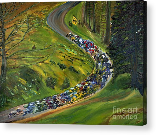 Lance Armstrong Acrylic Print featuring the painting Bike Race Belgium Arden Spring Classics by Gregory Allen Page