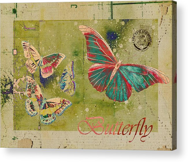 Butterflies Acrylic Print featuring the digital art Blue Butterfly Etc - S55ct01 by Variance Collections