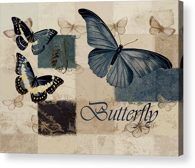 Butterfly Acrylic Print featuring the digital art Blue Butterfly - J118118115-01a by Variance Collections
