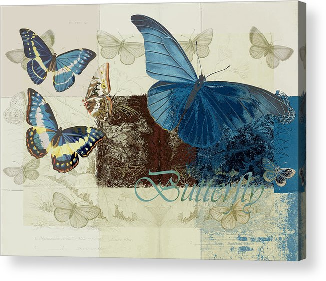 Butterfly Acrylic Print featuring the digital art Blue Butterfly - J152164152-01 by Variance Collections