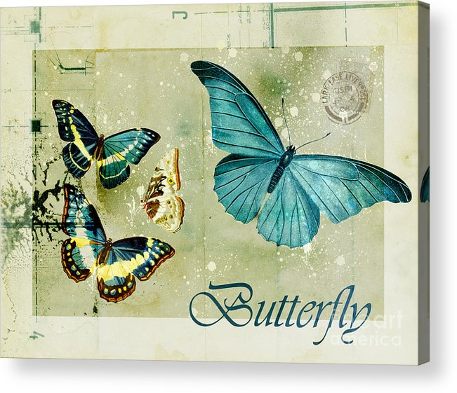 Butterfly Acrylic Print featuring the digital art Blue Butterfly - S55c01 by Variance Collections
