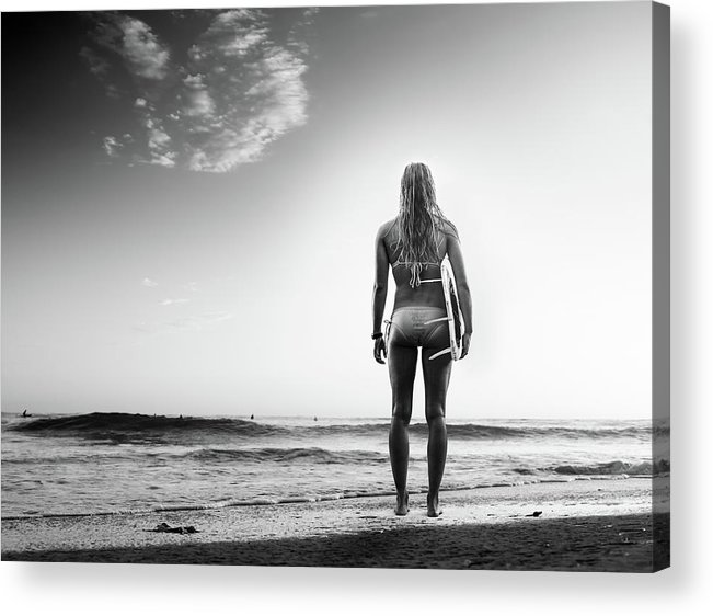Recreational Pursuit Acrylic Print featuring the photograph B&w Surfer by Michaelsvoboda