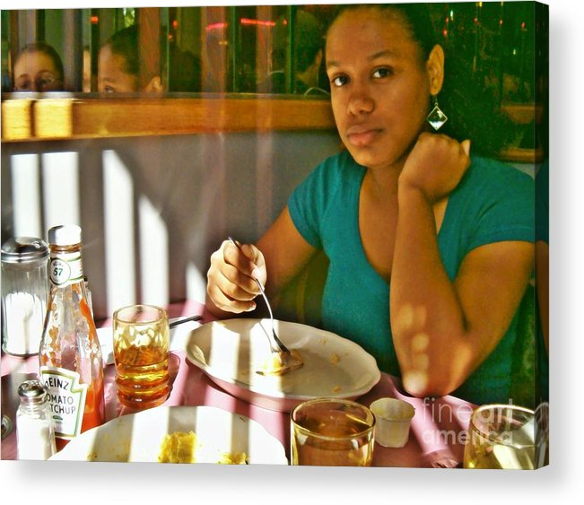 Catherine At The Diner Acrylic Print featuring the photograph Catherine At The Diner by Sarah Loft