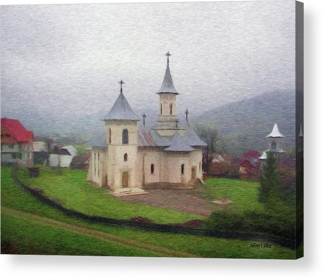 Chapel Acrylic Print featuring the painting Church In The Mist by Jeff Kolker