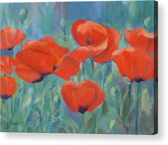 Red Poppies Acrylic Print featuring the painting Colorful Flowers Red Poppies Beautiful Floral Art by K Joann Russell