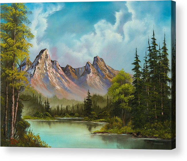 Landscape Acrylic Print featuring the painting Crimson Mountains by C Steele
